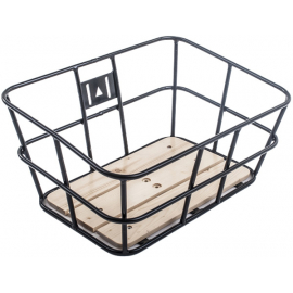 Portland tubular metal basket with wooden base