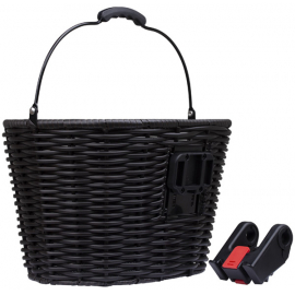 Stockbridge woven plastic basket with handle and QR plate