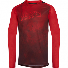 Flux Enduro men's long sleeve jersey  marble true red / classy burgundy X-large
